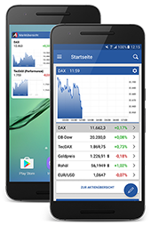 ARIVA.DE Android app homepage